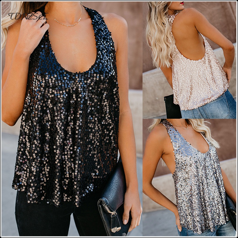 Women Sexy Loose Sequin Glitter Tank Tops Nightclub Party Low Cut Shiny Tees Summer Casual Streetwear Backless Cami Vest 2019