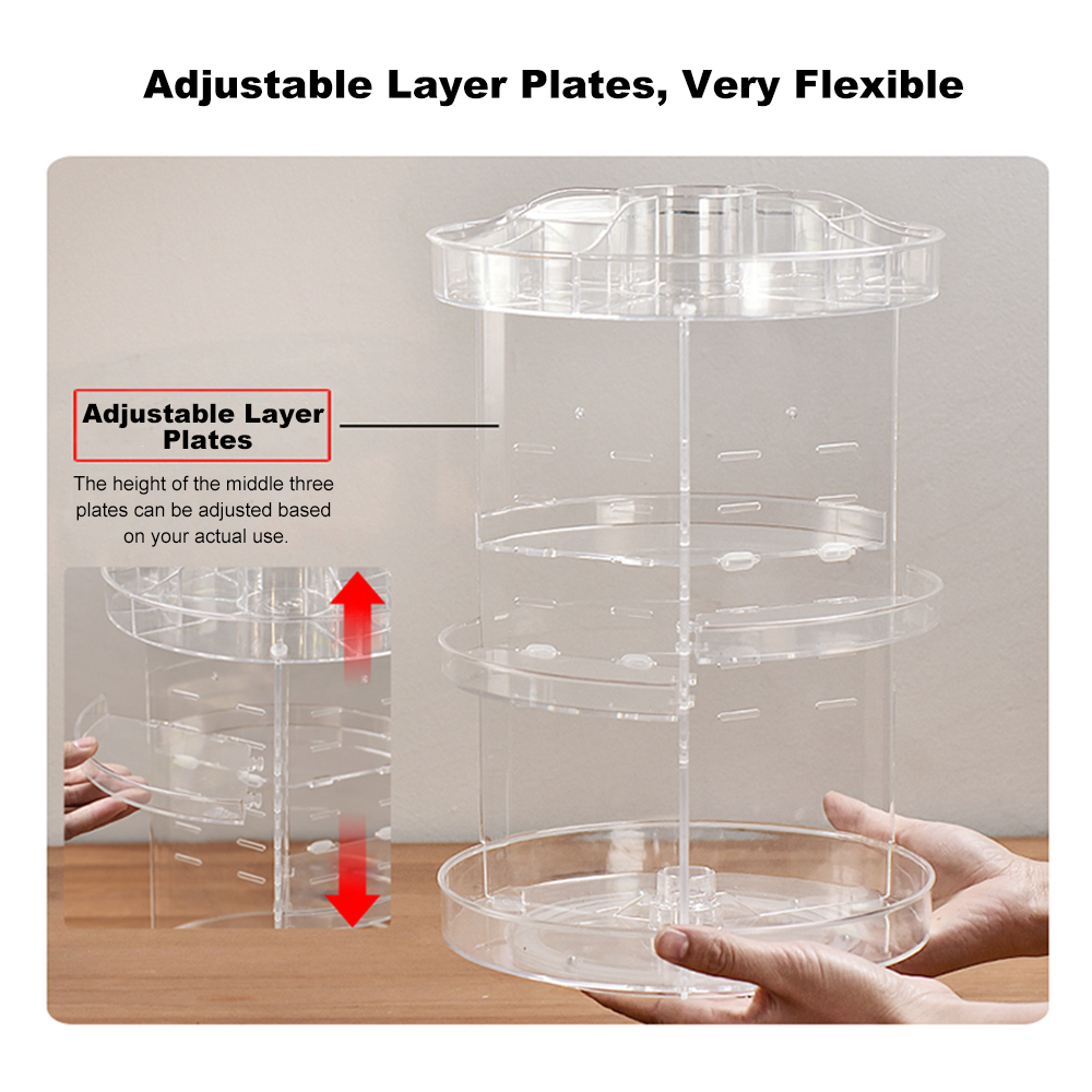 Image 5 - NEW Multi Functional Cosmetic Storage Box Display Holder Acrylic Makeup Case Organizer 360 Degree Rotation DIY Adjustable Height-in Eye Shadow Applicator from Beauty & Health