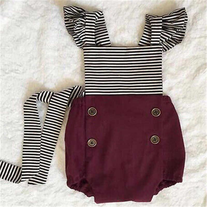 2019 летняя одежда для новорожденных, белый, черный комбинезон в полоску, боди для маленьких детей + повязка на голову, 2 предмета, красные наряды, комплект одежды для маленьких девочек
