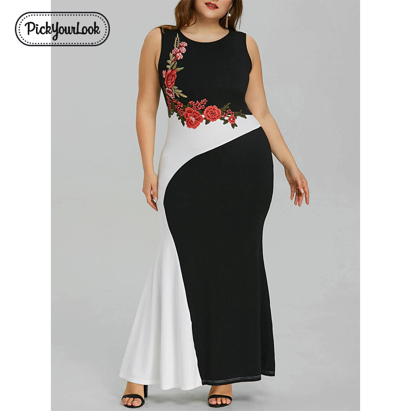 Floral Women Maxi Plus Size Dress Summer Sleeveless Rose Embroidery Patchwork Lady Dress Large Evening Party Dress D40 in Dresses from Women 39 s Clothing