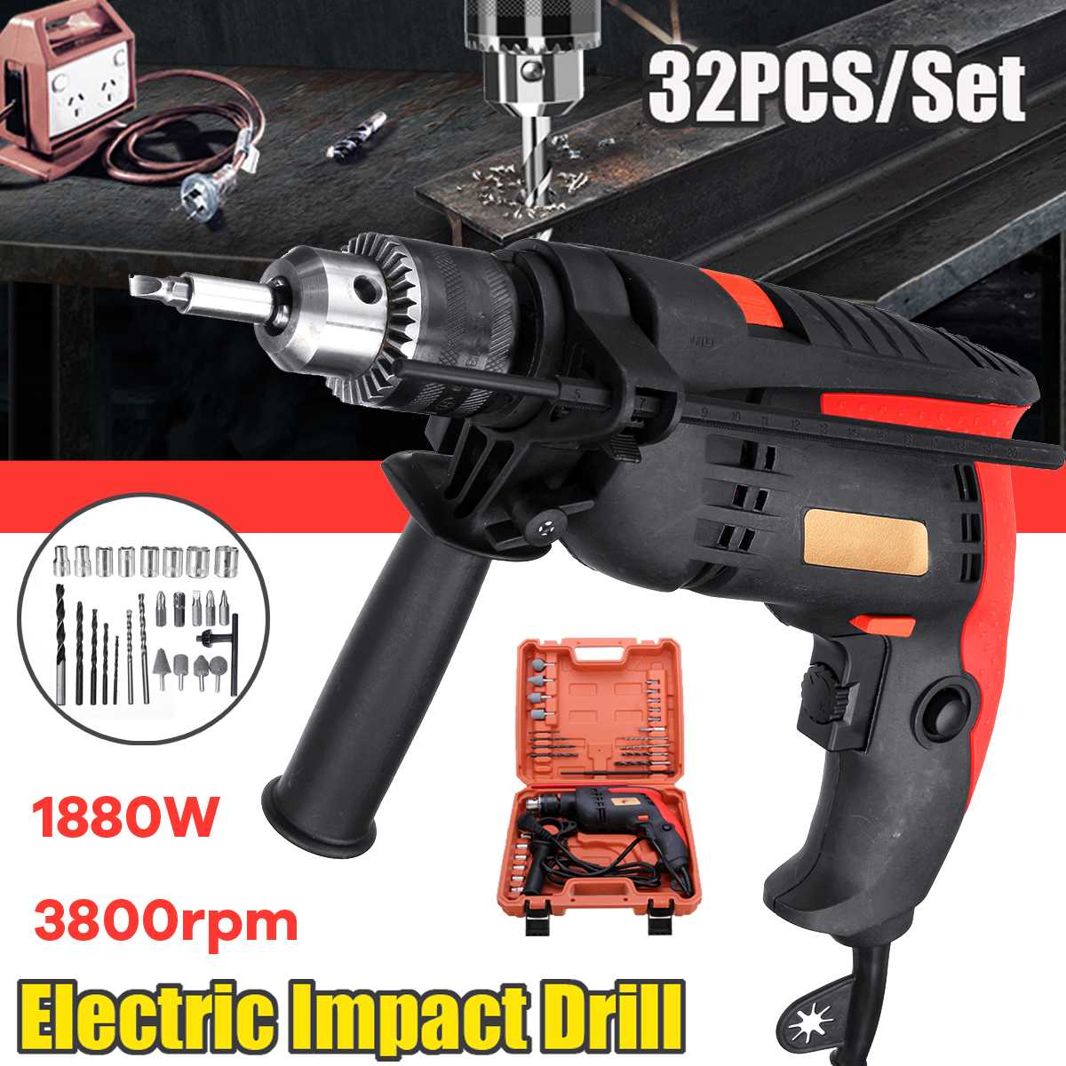 32Pcs 1880W Electric Brushless Motor Impact Drill 3MM Electric Impact Drill Guns Torque Driver Tool32Pcs 1880W Electric Brushless Motor Impact Drill 3MM Electric Impact Drill Guns Torque Driver Tool