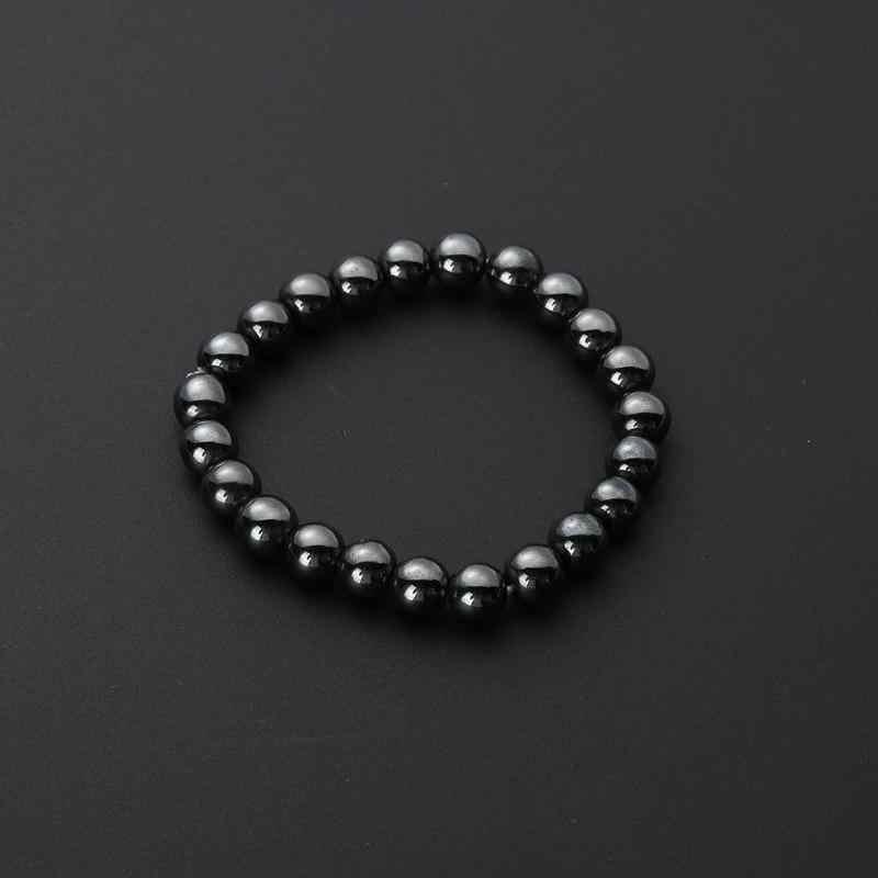 Потеря веса круглый черный камень браслет для магнитотерапии здоровья Магнитный гематит стрейч браслет