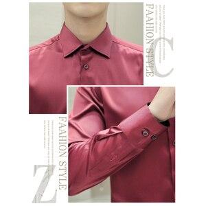 Image 4 - Camicia da uomo stile coreano moda abito da sposa manica lunga camicia Vintage camicia da smoking in seta camicia da uomo in cotone Chemise bianca