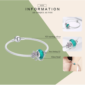 Image 3 - WOSTU 925 Sterling Silver Green Murano Beads Pink Flower Charm Bangles & Bracelet For Women Original Silver Jewelry Gift CQB822