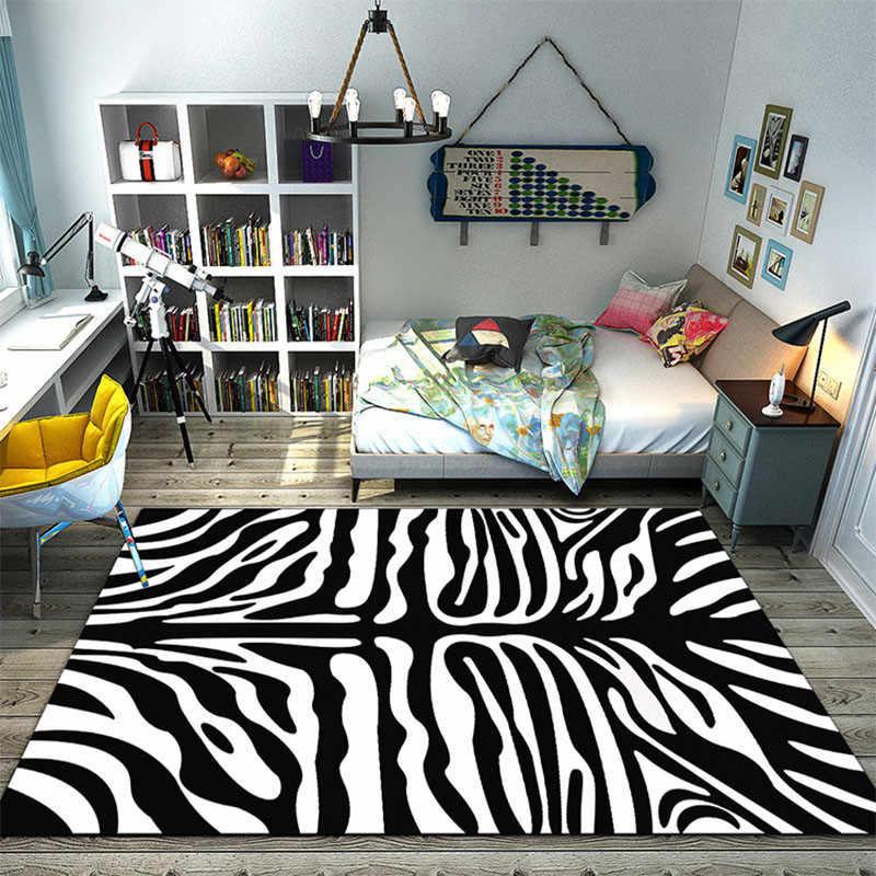 RFWCAK クリエイティブゼブラストライプのカーペットリビングルームのカーペットの寝室の虎ヘッド大フロアマット Tapete キッチンカーペット