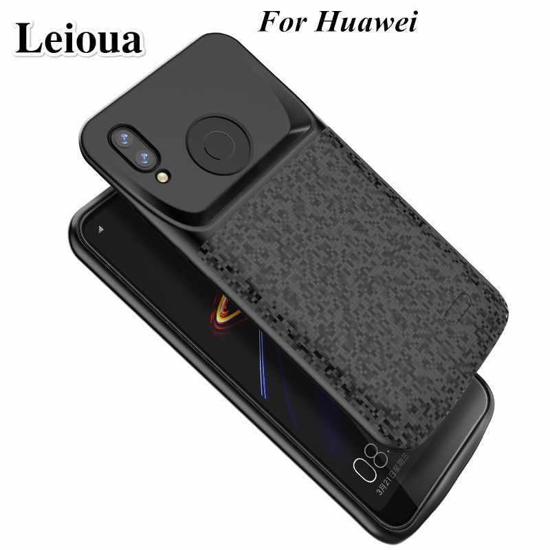 Leioua силиконовый Новый Батарея Зарядное устройство чехол для huawei P20 P30 Lite Nova 3e Honor 10 8 9 зарядки задняя крышка внешнего Мощность банка