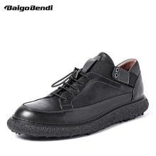 New Spring Mens Flat Heel Round Toe Casual Leather Shoes Business Man Trendy Oxfords Lace Up Breathable