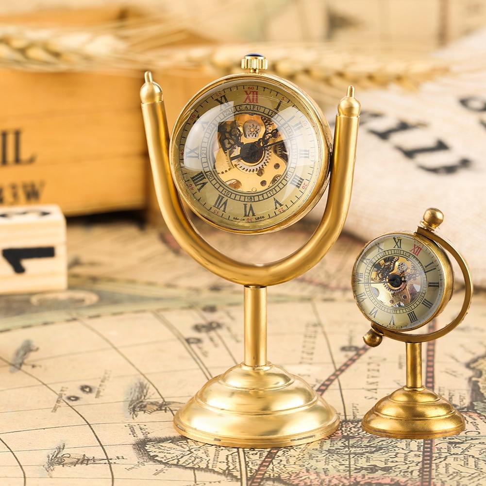 Spinning Globe Gold Desk Clock For Men Desktop Clock Home Decoration Copper Table Hand-winding Movement For Friends
