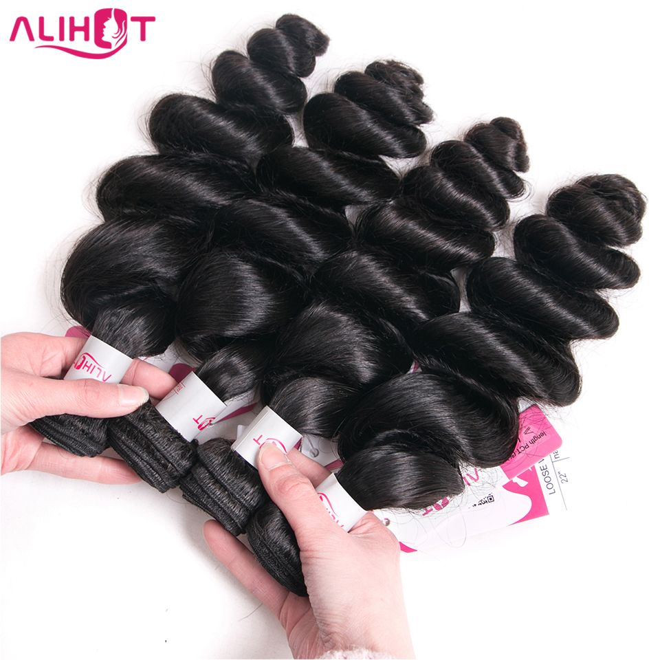 Ali Hot Brazilian Loose Wave Bundles 100 Human Hair Bundles 4 PC 8 28inch Non Remy