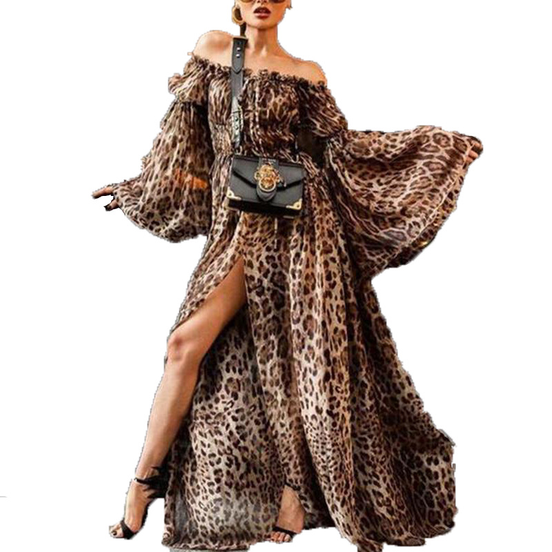 <font><b>2018</b></font> Autumn Women <font><b>Sexy</b></font> Party Dress Chiffon Leopard Plus Size Dresses Slash Neck <font><b>Ladies</b></font> Flare Sleeve Ankle-length Dress Z241 image