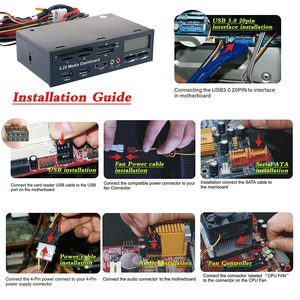 """Image 5 - Multi functional Media Panel 5.25"""" Computer Front Dashboard with SATA USB Microphone/Headphone Audio Port Integrated Card Reader"""
