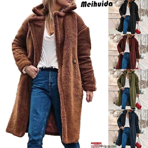 2019 Winter warm Faux Fur Coat Women's Jacket Female Lamb Wool Coat Overcoat Long Sleeve Hooded Outwear Cardigan