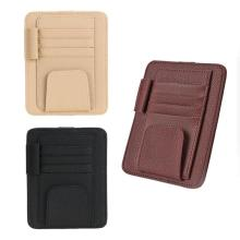 1 шт. Универсальный многофункциональный кожаный автомобильный футляр для очков, солнцезащитный козырек, бизнес-держатель для карт, аксессуары для стайлинга автомобилей