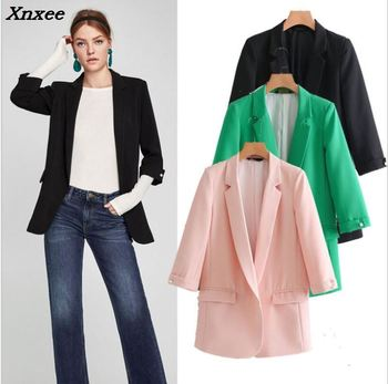 Casual loose women blazer pearl buttons three-quarter sleeves with pockets jackets formal coat outwear Xnxee