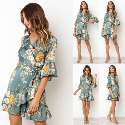 8fa558c91541 2019 Boho Vestido corto de cuello-V Sexy para mujeres de verano playa Maxi  Floral vestido de