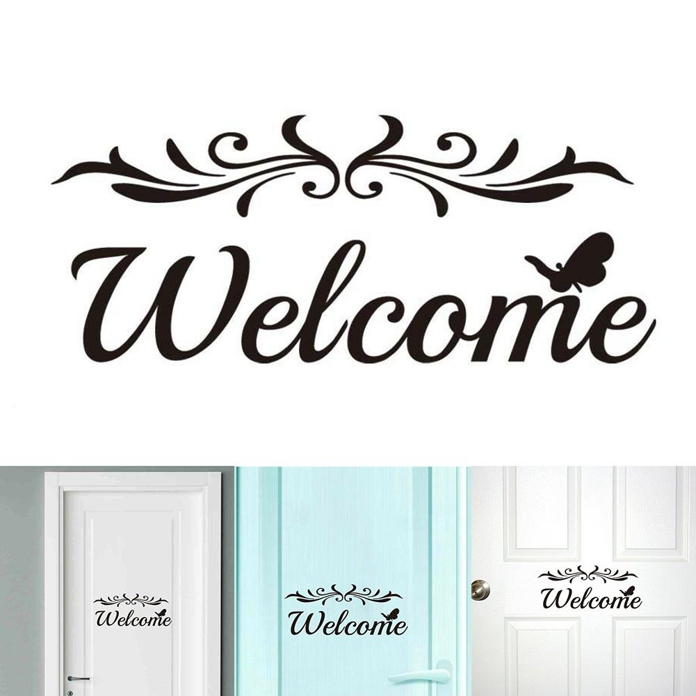 Home Decoration Letter Sign Welcome Wall Stickers Removable Self-Adhesive Decor Creative Pattern Wall Decals Door Stickers