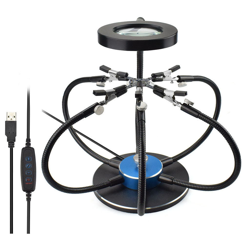 USB LED Lights Soldering Iron Holder 3X Magnifying Glass With 6 pcs Flexible Arms Soldering Station Third Hand Welding Tool