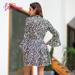 Versear Women Leopard Print Dress Sexy V Neck Bow Tie Long Flare Sleeve Spliced Ruffle Party Mini Dress Autumn OL Fashion Dress 10