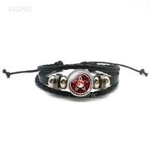 Black Occult Inverted Star Sign Leather Bracelet Pentagram Satanic Symbols Glass Bracelets Wo Men Jewelry