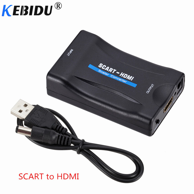 Kebidu 1080P Scart To HDMI Converter Audio Video Adapter HDMI to SCART For HDTV Sky Box STB For Smartphone HD TV DVD Newest