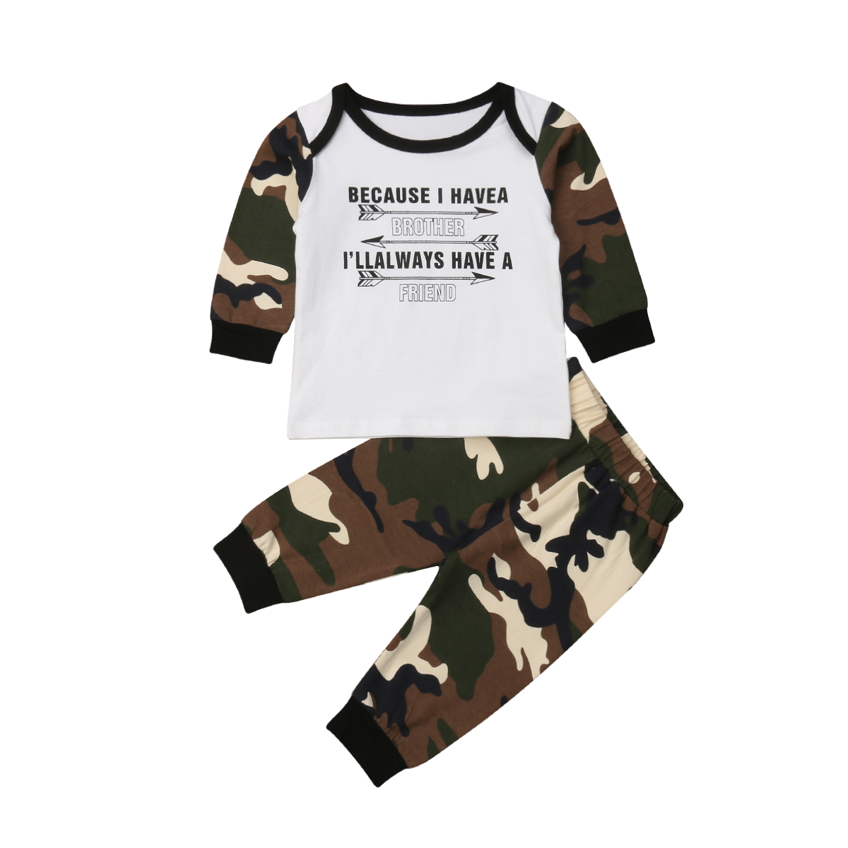 0-18M Newborn Baby Boy Clothes Long Sleeve Letter Cotton T-shirt Tops Camouflage Pant 2PCS Tracksuit Clothing Set