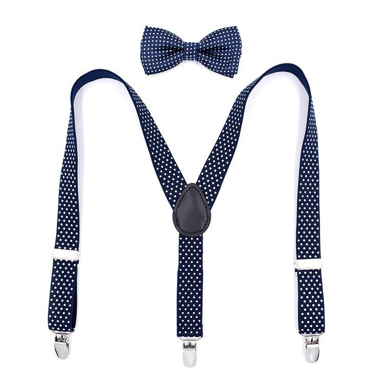 Baby Suspenders Pants Adjustable Elastic Y-back Braces Tirantes Polka Dot Children Suspenders And Bowtie Bow Tie Set Apparel Accessories