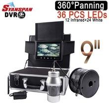 SYANSPAN waterproof IP68 DVR рыболокаторы 9 «ЖК-монитор видеокамера 1000TVL подводный лед Рыбалка 36 светодиодов 360 градусов вращающийся