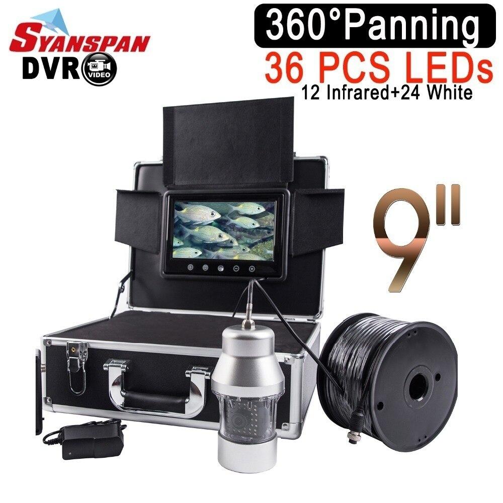 SYANSPAN impermeable IP68 DVR buscador de peces 9 LCD Monitor de la cámara de vídeo 1000TVL bajo el agua pesca en hielo 36 LEDs 360 grados giratorio