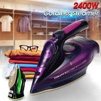 2400W Cordless Wireless Charging Portable Steam Iron 5 Speed Adjust Clothes Ironing Steamer Portable Ceramic Soleplate EU Plug