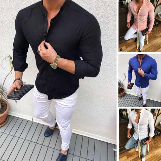 2019 Hot Men's Slim V Neck Long Sleeve Muscle Solid Shirt Casual Shirts Tops Blouse Men Fit Buttons Shirt Drop Shipping