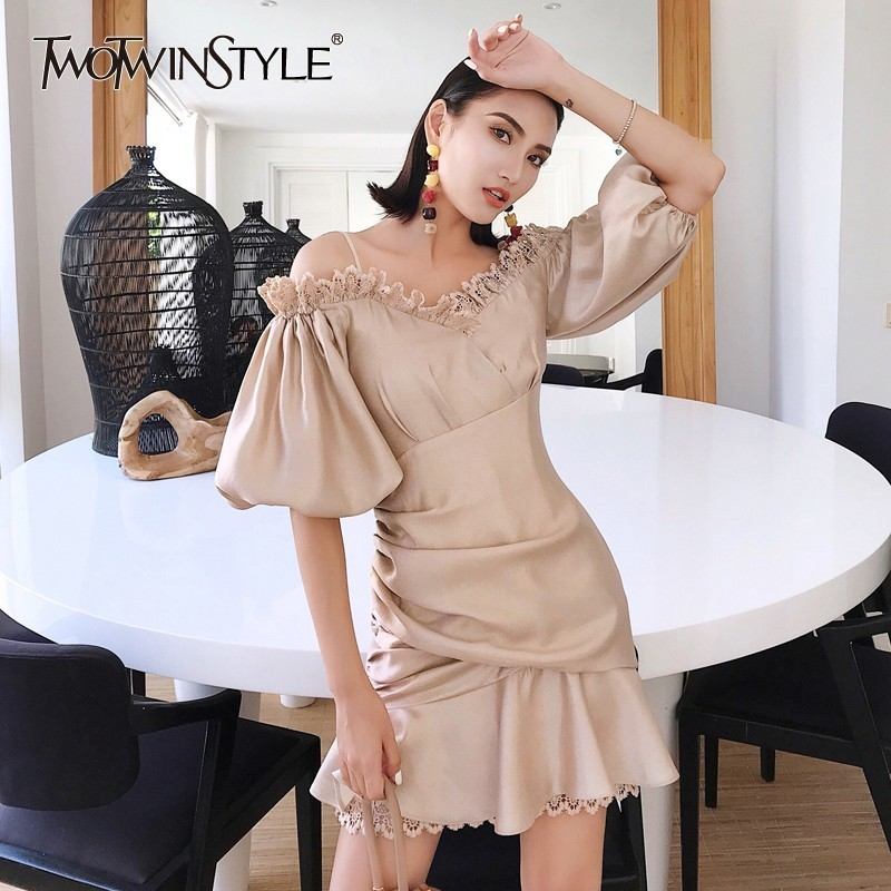 TWOTWINSTYLE Off Shoulder Sexy Dress Women V Neck Strap Lace Patchwork Lantern Sleeve Asymmetrical Short Dresses