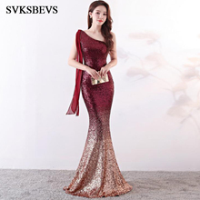 SVKSBEVS Sexy One Shoulder 2019 Party Sequined Mermaid Long Dresses Elegant Gradient Color Backless Maxi Dress