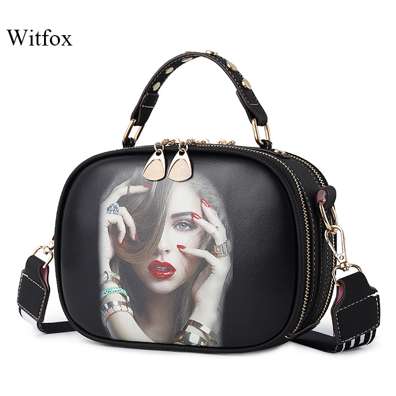 Witfox cartoon printing shoulder bags for women handbag fashion street wear young girls messenger bags 2019 new styleWitfox cartoon printing shoulder bags for women handbag fashion street wear young girls messenger bags 2019 new style
