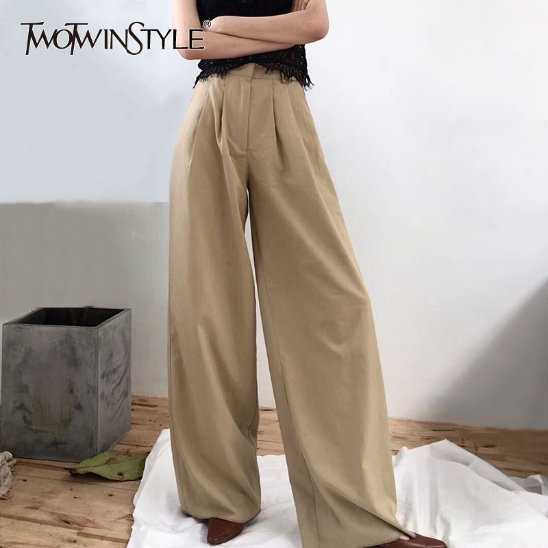 TWOTWINSTYLE Casual   Wide     Leg     Pants   Female High Waist Trousers with Pockets Women Fashion New 2019 Spring Summer New Large Sizes