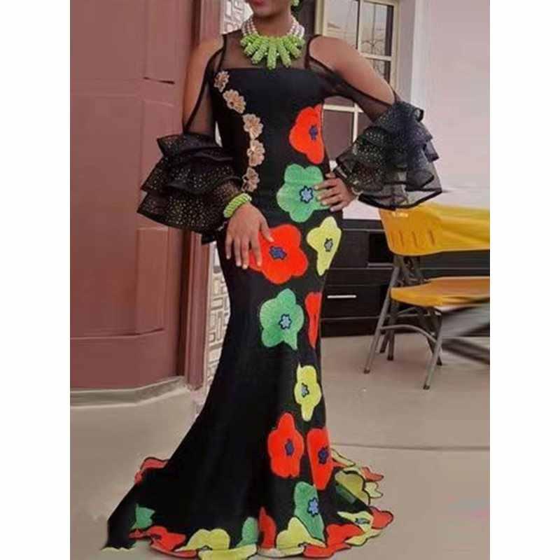 Летние элегантные черные женские длинные платья больших размеров с открытыми плечами, сеточка с цветочным принтом, вечернее платье с рюшами, женское Макси-платье
