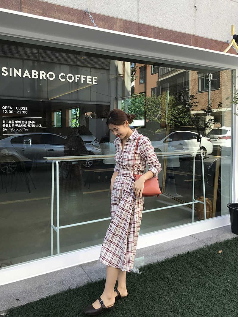 Vestidos 2018 новое длинное платье-рубашка на шнуровке Женская мода OL с длинным рукавом Бандажное с отложным воротником офисное платье клетчатое платье
