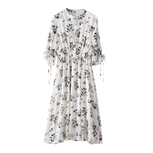 Casual Floral Print Summer Dresses Female Elegant Party Dress Bow Half Sleeve Chiffon Women Vestidos