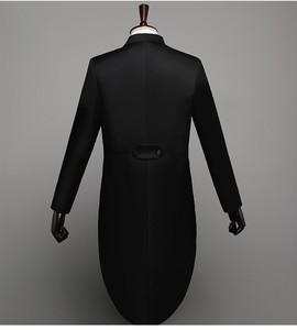 Image 3 - Мужской классический смокинг, черный блестящий пиджак с лацканами и хвостом, свадебный смокинг, сценический певец, костюм из 2 предметов, пиджак с хвостом