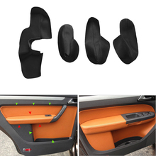 4pcs Microfiber Leather Interior Door Panel Guards / Armrest Cover Protective Trim For VW Touran 2006 2007 2008 2009 - 2015