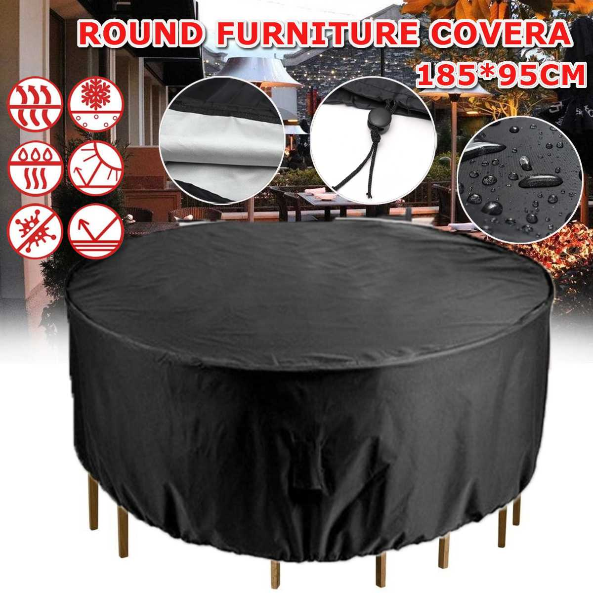 Round Anti-dust Cover Outdoor Garden Yard Patio Rain Snow Table Chair Furniture Waterproof Cover for Round Furniture 73x38 Inch 1