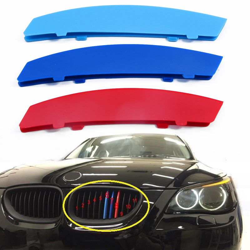 3pcs 3D M-color Car Grille Sport Insert Trim Cover Strips For <font><b>BMW</b></font> <font><b>5</b></font> <font><b>Series</b></font> <font><b>E60</b></font> 2004-2010 Auto Front Grille Trims image