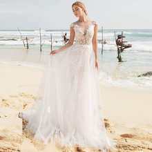 Sexy Beach Wedding Dresses 2019 Vestido De Novia Cap Sleeve Bride Applique A-line Gowns with Detachable Skirt