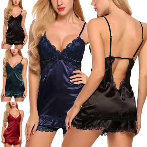 2Pcs Sexy Women Satin Lace Sleepwear Babydoll Lingerie Nightdress Pajamas Set