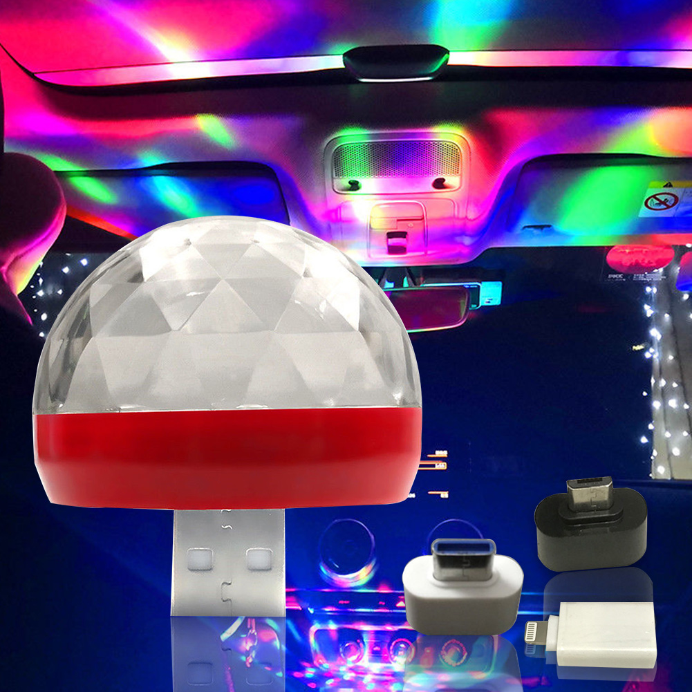 Ball Shape Design Light Colorful Atmosphere Party Decoration Rotating USB Mini Car Interior Portable Music Projector LED Lamp