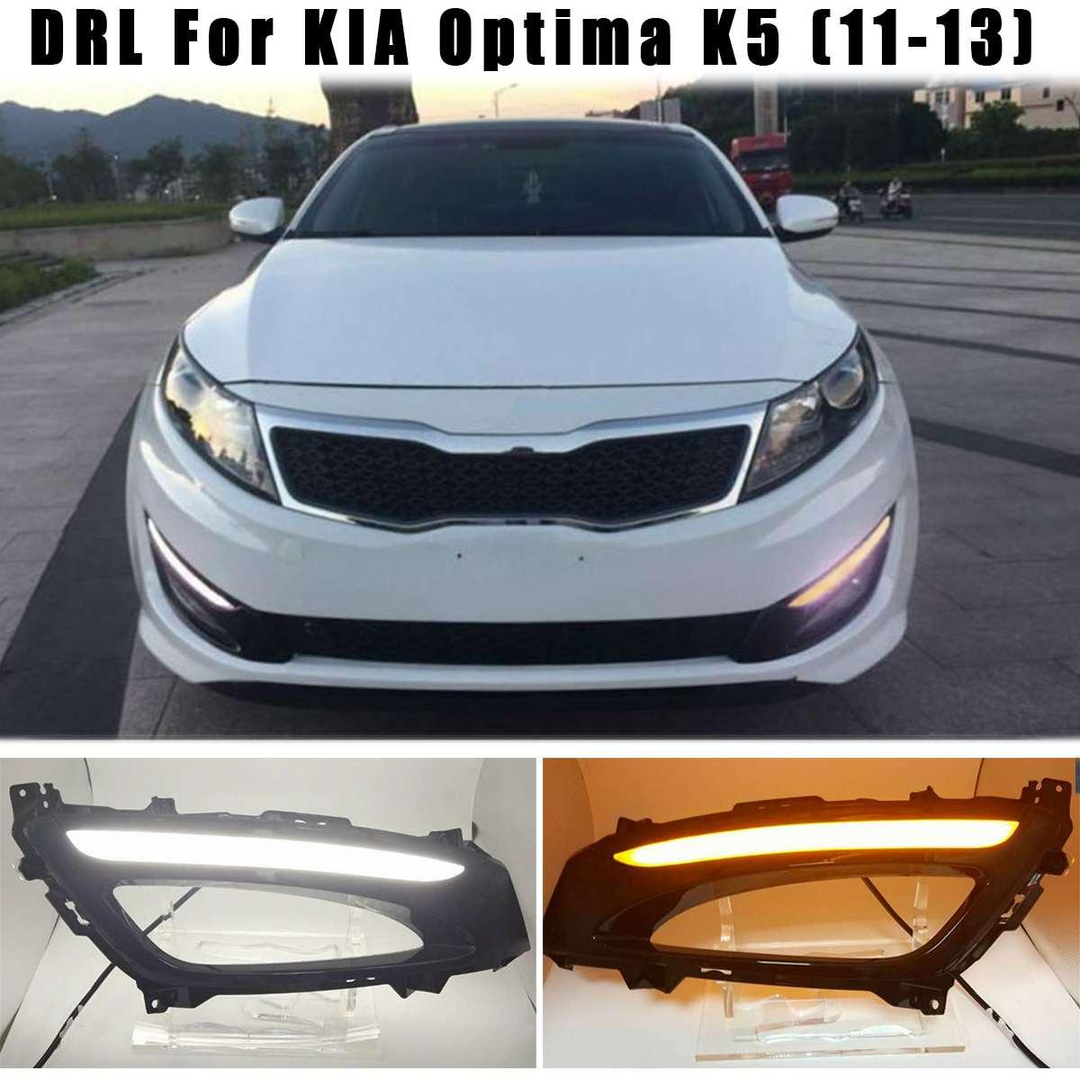 1Pair For Kia Optima K5 2011 2012 2013 LED White DRL Daytime Running Light Fog Lights Lamps Amber Turn Signal Light