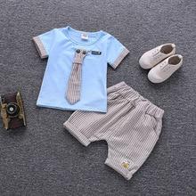 Children Fashion Garment Summer Baby Boy Girl Necktie T-shirt Shorts 2Pcs/Sets Kids Cotton Tracksuit Toddler Sport Clothing Sets стоимость