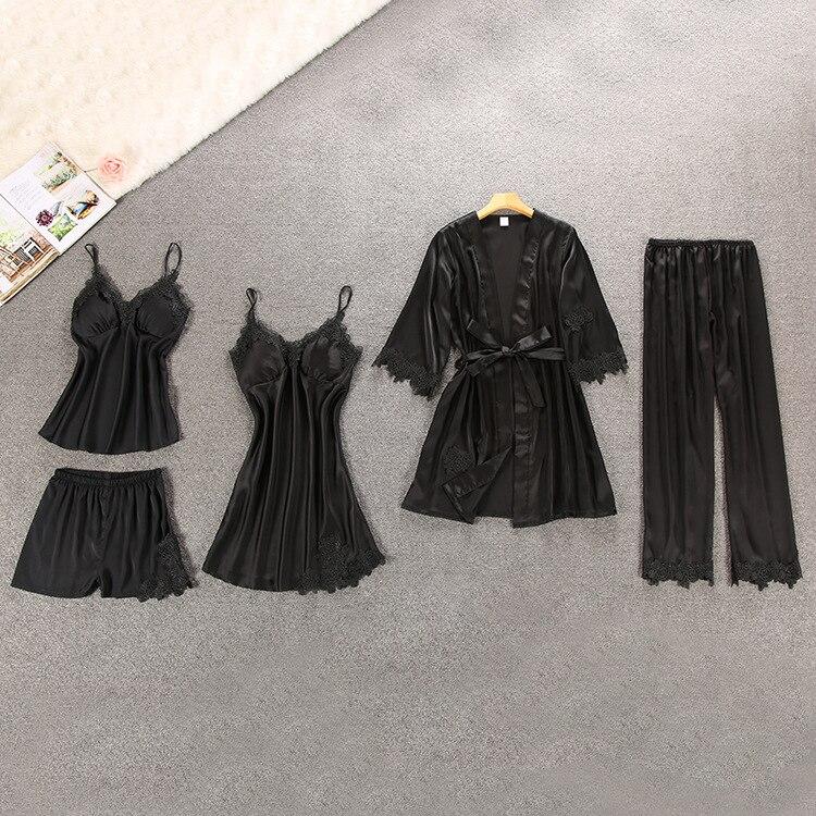 Image 5 - Women Pajamas 5/4/2/1 Pieces Satin Sleepwear Pijama Silk Home Wear Home Clothing Embroidery Sleep Lounge Pyjama with Chest PadsPajama Sets   -