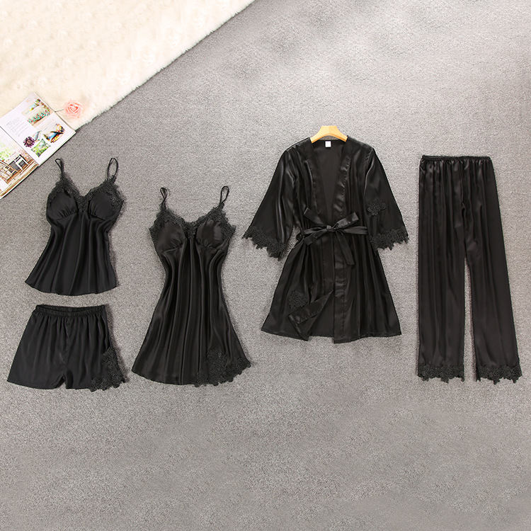 Image 5 - Women Pajamas 5 Pieces Satin Sleepwear Pijama Silk Home Wear Home Clothing Embroidery Sleep Lounge Pyjama with Chest Pads-in Pajama Sets from Underwear & Sleepwears