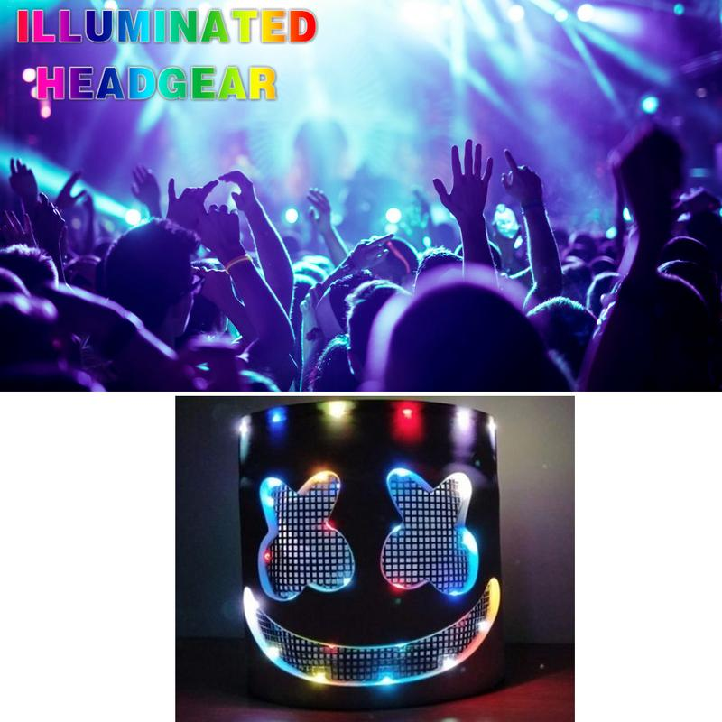 LED clignotant casque scène Performance masque brillant guimauve masque casque musique Festival accessoires sans batterie livraison directe