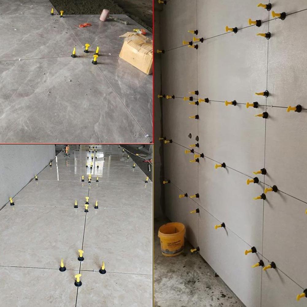 Adeeing 50 pièces/ensemble Plancher Mur Système De Nivellement des Carreaux Niveleur Localisateur Entretoises Pince Système De Nivellement des Carreaux Outils De Construction